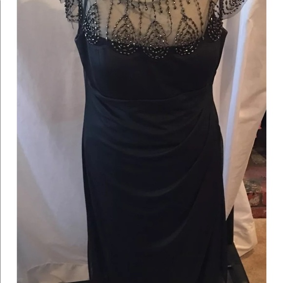2467be3ba DJ Jaz Ruched Formal Dress Black Beaded SZ 16